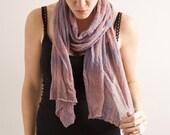 SALE - One of a Kind - Shredded Scarf in Pink//Purple Tie Dye.