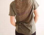 Shredded Pocket T-Shirt in Army Green - One of A Kind - Size Medium