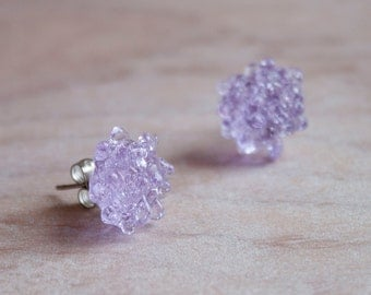 Glass Cluster Dot Earrings - Lilac