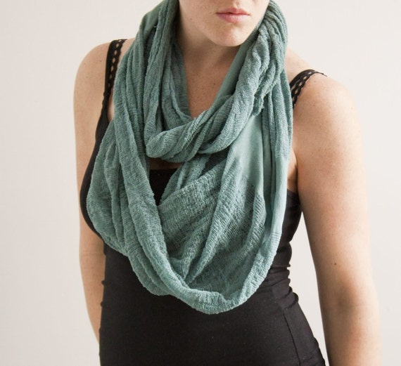 RESERVED for Dilys - SALE - One of a Kind - Shredded Scarf in Green Teal.