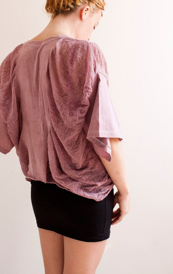 SALE - Shredded T-Shirt in Rose - One of A Kind - One Size Fits All