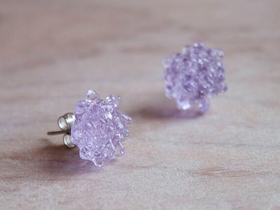 Glass Cluster Dot Earrings - Lilac