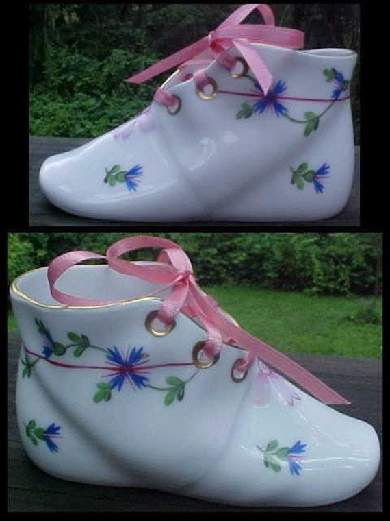 Vintage Herend Porcelain Blue Garland Baby Shoe With