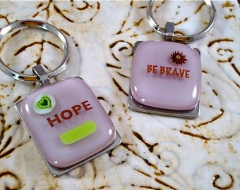 Signs of Support Glass Key Rings - Charitable