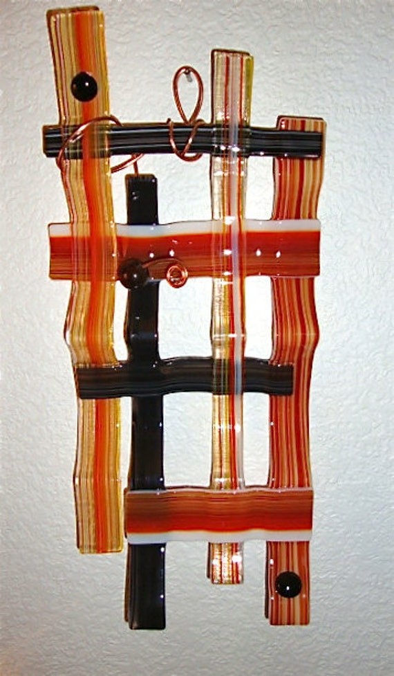 Textured Weave Copper Wire and Glass Wall Sculpture