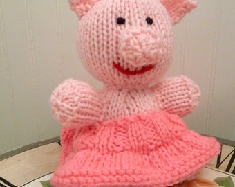 Hand Knitted Stuffed Pink Pig