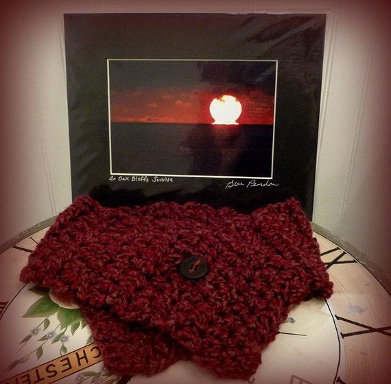 Hand Knitted Cranberry Blend Neckwarmer