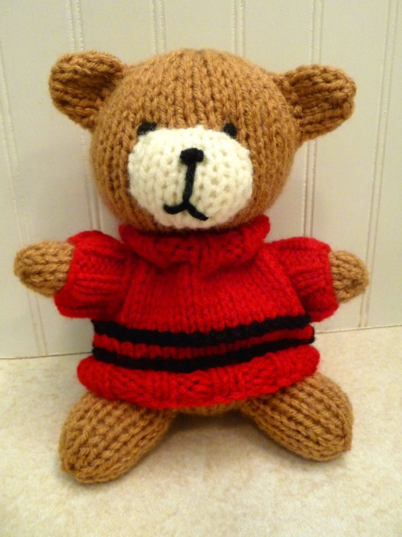 RESERVED Hand Knitted Stuffed Brown Teddy Bear wearing a sweater