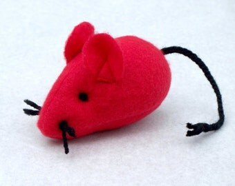 Catnip Mouse - Catnip Cat Toy - Kitten Toy - Plush Catnip Mouse Cat Toy - Red