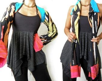 Multi Color Grunge Crop Kimono Shrug