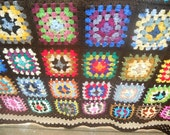 Granny Square Afghan Brown Border and Rainbow Variety FREE SHIPPING