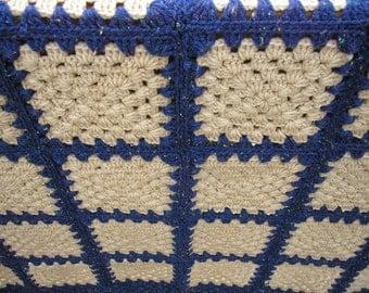 Crochet Granny Square Blue Note Handmade Heirloom Quality Afghan FREE SHIPPING