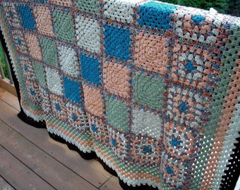 Crochet Afghan Walk Through the Woods Forest Green and Big Blue Sky Heirloom Quality FREE SHIPPING
