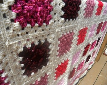 Granny Square Afghan Heirloom Quality Tulips in Bloom Pinks, Reds and Magenta