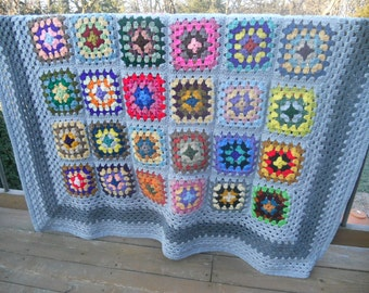 Kaleidoscope  Multi-ColorGray Traditional Granny Square Afghan FREE SHIPPING