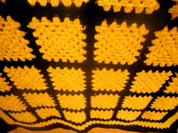 Black and Gold Crochet Granny Square Afghan Heirloom Quality Free Shipping Gold