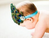 Peacock Feather Bling Turquoise Elactic Headband Free Shipping On All Additional Items