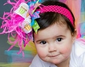 Bright Rainbow Birthday Cupcake Over The Top  Bow on matching Headband Free Shipping On All Addional Items