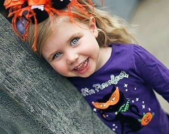 Halloween Orange and Black Zebra and Pumpkin Over The Top Funky Bow with Ostrich Puff on interchangeable headband FREE SHIPPING ON ALL ADDITIONAL ITEMS