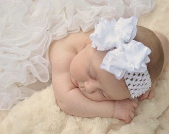 Large Double Layered White Double Ruffle Bow with Crocheted Headband of Choice Free Shipping On All Additional Items