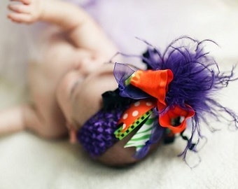 Halloween Over The Top Funky Bow Orange Black Lime Purple with Ostrich Puff on headband Free Shipping On All Additional Items