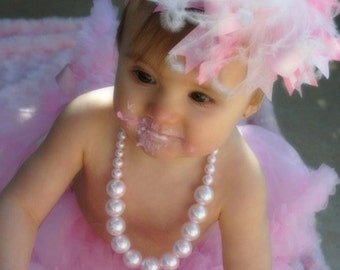 Light Pink and White Over The Top Funky Boutique Hair Bow Free Shipping On All Additional Items