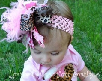 Pink Camo and Leopard Over The Top Funky Bow with interchangeable headband Free Shipping On All Additional Items