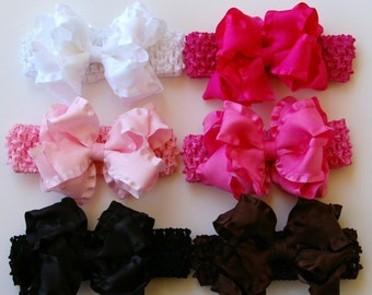 Ultimate Princess Gift Set of 6 Large Double Layered Double Ruffle Bow with Crocheted Headbands Buy 5 Get One Free