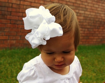 White  Large Double Layered Double Ruffle Bow Free Shipping On All Addition Items