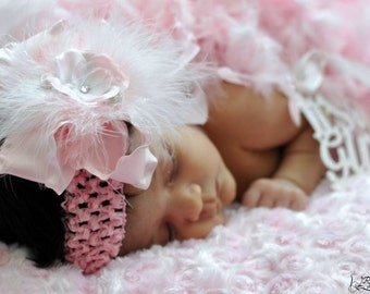 Large Double Ruffle Bow with Marabou and Small Flower Center Crocheted Headband Free Shipping On All Additional Items