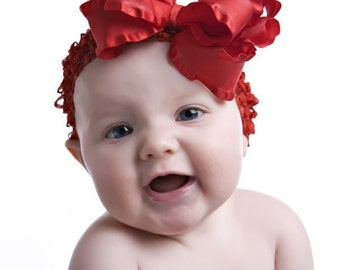Large Double Layered Red Double Ruffle Bow with Crocheted Headband Free Shipping On All Additional Items