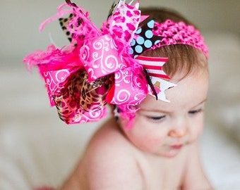 Ice Cream Party Leopard Bow with Special Bling Center Over The Top  Bow on Matching Headband Free Shipping On All Addional Items