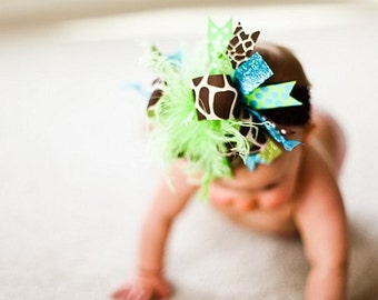 M2M Mud Pie Turquoise Lime Giraffe Over The Top Boutique Hair Bow on matching Headband Free Shipping On All Addional Items