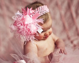 Girls Baby Pink Over The Top Boutique Hair Bow on matching Headband Free Shipping On All Addional Items