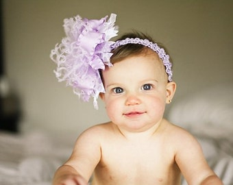 Lavender Purple and White Over The Top Boutique Hair Bow on Matching Headband Free Shipping On All Addional Items