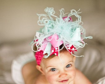 Aqua and Pink Over The Top  Bow on Matching Headband Free Shipping On All Addional Items