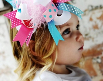 Cotton Candy Over The Top  Bow on Matching Headband Free Shipping On All Addional Items