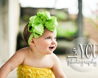 Large Double Layered Lemon Grass Green Double Ruffle Bow with Nylon Headband of Choice Free Shipping On All Additional Items
