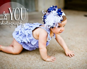 Light Navy and White Over The Top  Bow M2M Mud Pie on Matching Headband Free Shipping On All Addional Items