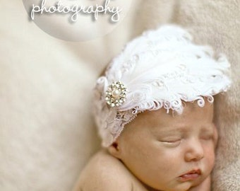 White Naigore Feather Bling Wide White Lace Headband Free Shipping On All Additional Items