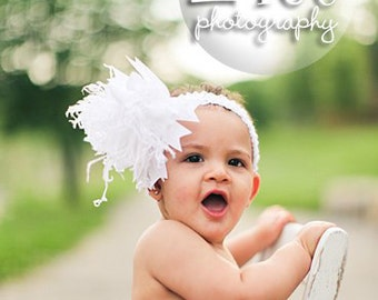 All White Over The Top  Bow on Matching Headband Free Shipping On All Addional Items