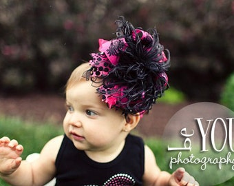 Black and Shocking Pink Damask Over the Top Bow with Matching Crocheted Headband Free Shipping on all Additional Items