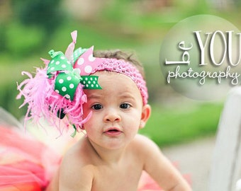 Hot Pink and Emerald Green Over The Top Boutique Hair Bow on Matching Headband Free Shipping On All Addional Items