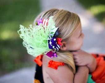 Halloween Over The Top Funky Bow Pink Lime Purple Orange Black with Ostrich Puff on headband Free Shipping On All Additional Items