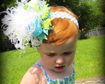 Light Green and Turquoise Over The Top  Bow M2M Mud Pie on Matching Headband Free Shipping On All Addional Items