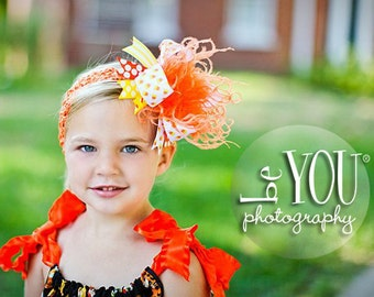 Halloween Candy Corn Over The Top Funky Bow OrangeYellow and White with Ostrich Puff on headband Free Shipping On All Additional Items