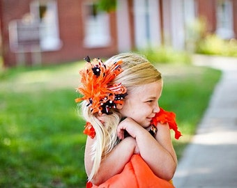 Halloween Over The Top Funky Boutique Hair Bow Orange and Black with Ostrich Puff on headband Free Shipping On All Additional Items