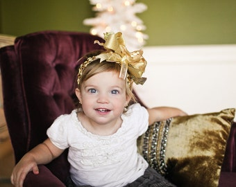 SALE NEW Gold Over The Top Funky Christmas Bow with interchangeable headband Free Shipping On All Additional Items