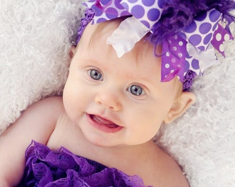 Dark Purple Over The Top Boutique Hair Bow Girls on Matching Headband Free Shipping On All Addional Items
