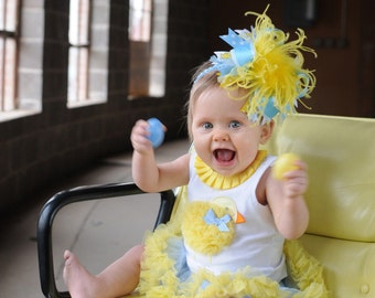 Yellow and Blue Easter Chick M2M Mud Pie Over The Top  Bow on Matching Headband Free Shipping On All Addional Items